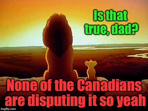 Is that true, dad? None of the Canadians are disputing it so yeah | made w/ Imgflip meme maker