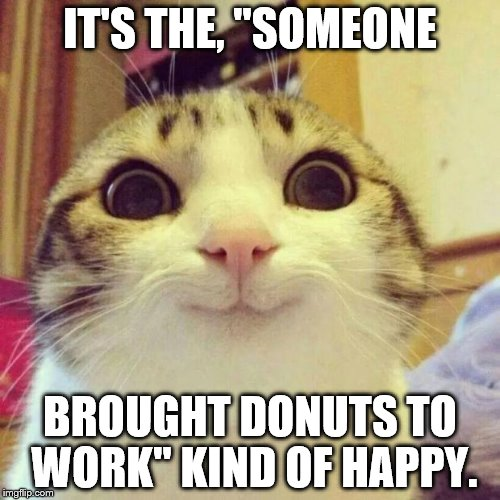 "Smiling Cat Meme | IT'S THE, ""SOMEONE BROUGHT DONUTS TO WORK"" KIND OF HAPPY. 