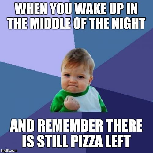 Success Kid Meme | WHEN YOU WAKE UP IN THE MIDDLE OF THE NIGHT AND REMEMBER THERE IS STILL PIZZA LEFT | image tagged in memes,success kid | made w/ Imgflip meme maker