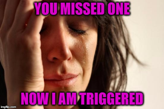First World Problems Meme | YOU MISSED ONE NOW I AM TRIGGERED | image tagged in memes,first world problems | made w/ Imgflip meme maker