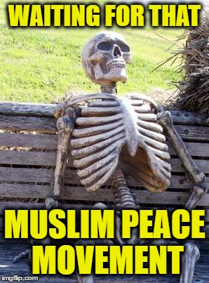 Waiting Skeleton Meme | WAITING FOR THAT MUSLIM PEACE MOVEMENT | image tagged in memes,waiting skeleton | made w/ Imgflip meme maker