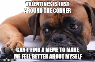 Sad Dog | VALENTINES IS JUST AROUND THE CORNER CAN'T FIND A MEME TO MAKE ME FEEL BETTER ABOUT MYSELF | image tagged in sad dog | made w/ Imgflip meme maker