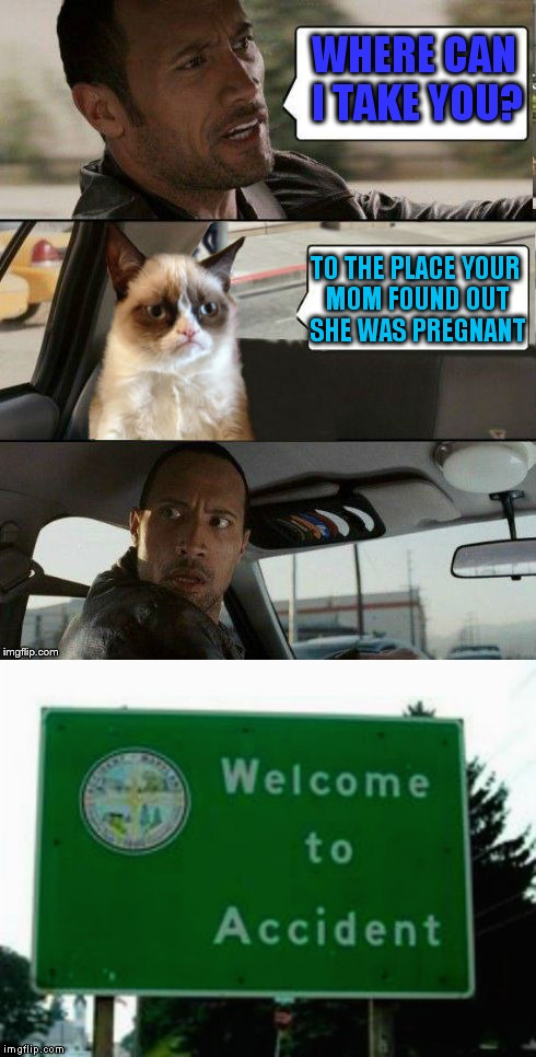 Grumpy sure knows how to hit a man where it hurts! | WHERE CAN I TAKE YOU? TO THE PLACE YOUR MOM FOUND OUT SHE WAS PREGNANT | image tagged in the rock driving grumpy cat,the rock driving,accident,funny signs | made w/ Imgflip meme maker