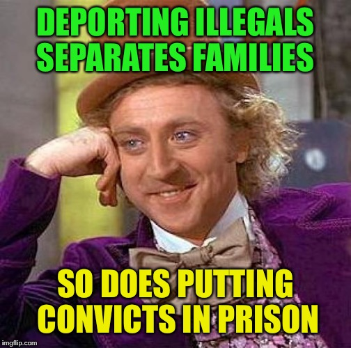 If you break a law, your family will pay the price....... | DEPORTING ILLEGALS SEPARATES FAMILIES SO DOES PUTTING CONVICTS IN PRISON | image tagged in memes,creepy condescending wonka | made w/ Imgflip meme maker