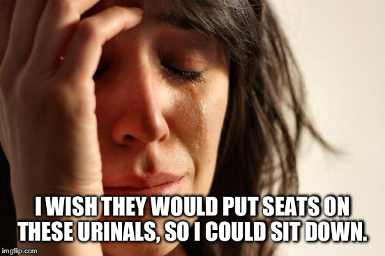 First World Problems Meme | I WISH THEY WOULD PUT SEATS ON THESE URINALS, SO I COULD SIT DOWN. | image tagged in memes,first world problems | made w/ Imgflip meme maker