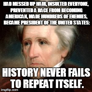 Deja Vu? | HAD MESSED UP HAIR, INSULTED EVERYONE, PREVENTED A RACE FROM BECOMING AMERICAN, MADE HUNDREDS OF ENEMIES, BECAME PRESIDENT OF THE UNITED STA | image tagged in donald,trump,andrew jackson,president,deja vu | made w/ Imgflip meme maker