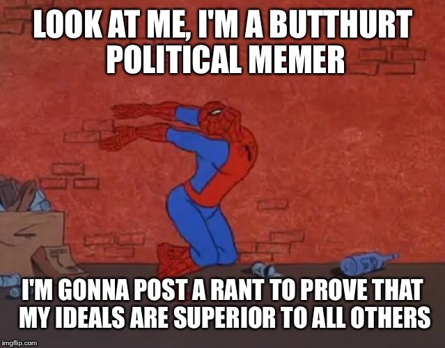 This was originally a comment I made, but it was too good not to post as a meme. | image tagged in memes,spiderman,political,butthurt,this is a tag | made w/ Imgflip meme maker