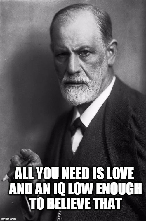 Sigmund Freud Meme | ALL YOU NEED IS LOVE AND AN IQ LOW ENOUGH TO BELIEVE THAT | image tagged in memes,sigmund freud | made w/ Imgflip meme maker