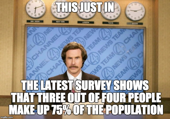 This just in | THIS JUST IN THE LATEST SURVEY SHOWS THAT THREE OUT OF FOUR PEOPLE MAKE UP 75% OF THE POPULATION | image tagged in this just in | made w/ Imgflip meme maker