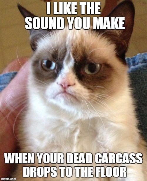 Ka-THUMP! | I LIKE THE SOUND YOU MAKE WHEN YOUR DEAD CARCASS DROPS TO THE FLOOR | image tagged in memes,grumpy cat,grumpy cat insults,insult of the day,dead bodies everywhere | made w/ Imgflip meme maker