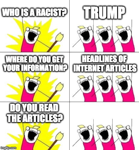"Debated making the last panel say, ""You're a racist too!"" or ""Why bother? It's clickbait"" but decided to leave blank. Thoughts? 