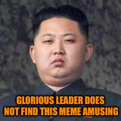 Smile, yur on teh interwebz | GLORIOUS LEADER DOES NOT FIND THIS MEME AMUSING | image tagged in kim jong un - not impressed,not smiling,haha,tags on phone suck | made w/ Imgflip meme maker