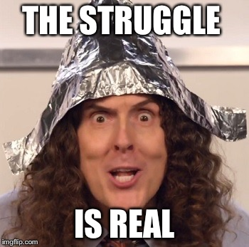 Weird al tinfoil hat | THE STRUGGLE IS REAL | image tagged in weird al tinfoil hat | made w/ Imgflip meme maker