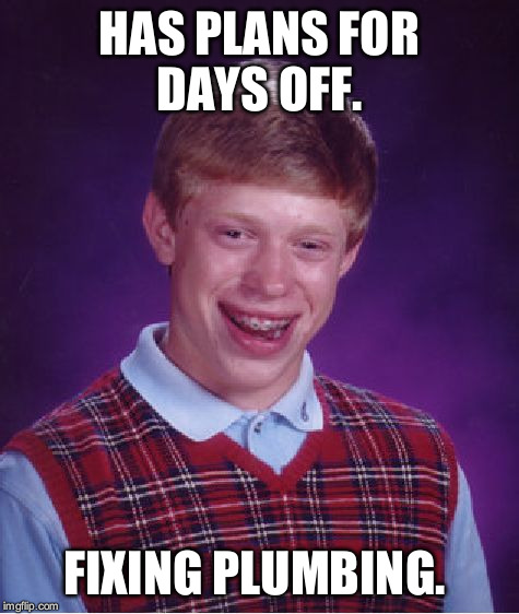 Bad Luck Brian Meme | HAS PLANS FOR DAYS OFF. FIXING PLUMBING. | image tagged in memes,bad luck brian | made w/ Imgflip meme maker