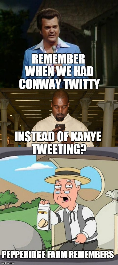 Don't ask me how I came up with this one... | REMEMBER WHEN WE HAD CONWAY TWITTY INSTEAD OF KANYE TWEETING? PEPPERIDGE FARM REMEMBERS | image tagged in funny memes,conway,kanye,pepperidge farm remembers,singers | made w/ Imgflip meme maker