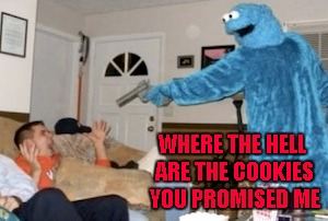 WHERE THE HELL ARE THE COOKIES YOU PROMISED ME | made w/ Imgflip meme maker