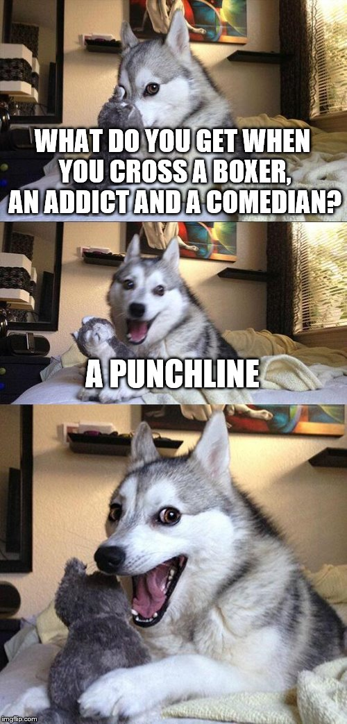 Bad Pun Dog Meme | WHAT DO YOU GET WHEN YOU CROSS A BOXER, AN ADDICT AND A COMEDIAN? A PUNCHLINE | image tagged in memes,bad pun dog | made w/ Imgflip meme maker