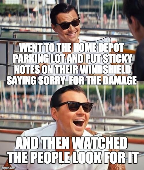 Leonardo Dicaprio Wolf Of Wall Street Meme | WENT TO THE HOME DEPOT PARKING LOT AND PUT STICKY NOTES ON THEIR WINDSHIELD SAYING SORRY  FOR THE DAMAGE AND THEN WATCHED THE PEOPLE LOOK FO | image tagged in memes,leonardo dicaprio wolf of wall street | made w/ Imgflip meme maker