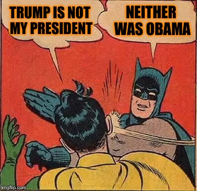 Batman Slapping Robin Meme | TRUMP IS NOT MY PRESIDENT NEITHER WAS OBAMA | image tagged in memes,batman slapping robin | made w/ Imgflip meme maker