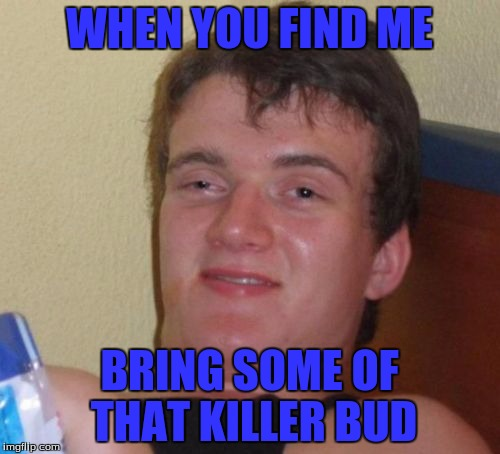 10 Guy Meme | WHEN YOU FIND ME BRING SOME OF THAT KILLER BUD | image tagged in memes,10 guy | made w/ Imgflip meme maker