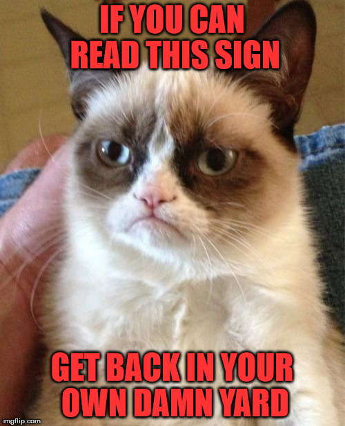 Grumpy Cat Meme | IF YOU CAN READ THIS SIGN GET BACK IN YOUR OWN DAMN YARD | image tagged in memes,grumpy cat | made w/ Imgflip meme maker