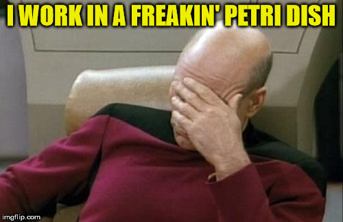 Captain Picard Facepalm Meme | I WORK IN A FREAKIN' PETRI DISH | image tagged in memes,captain picard facepalm | made w/ Imgflip meme maker