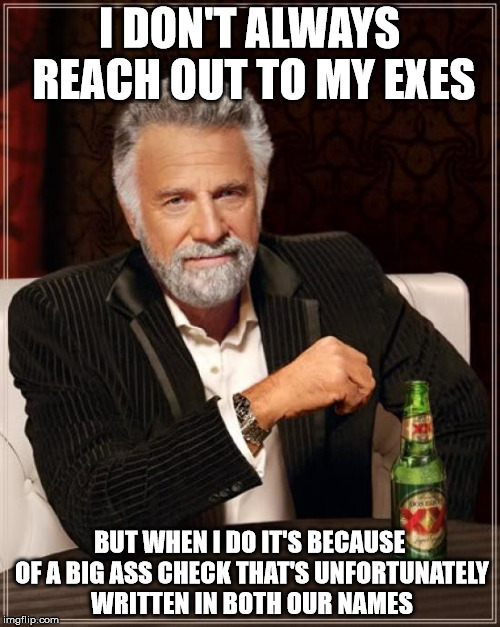The Most Interesting Man In The World Meme | I DON'T ALWAYS REACH OUT TO MY EXES BUT WHEN I DO IT'S BECAUSE OF A BIG ASS CHECK THAT'S UNFORTUNATELY WRITTEN IN BOTH OUR NAMES | image tagged in memes,the most interesting man in the world | made w/ Imgflip meme maker
