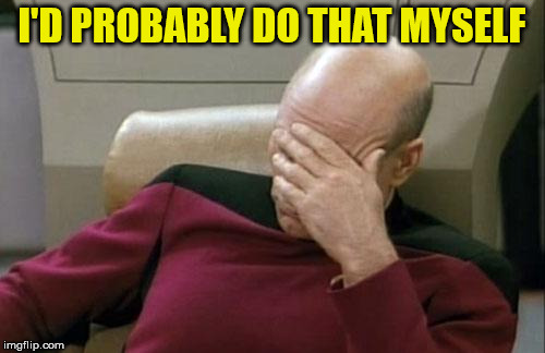 Captain Picard Facepalm Meme | I'D PROBABLY DO THAT MYSELF | image tagged in memes,captain picard facepalm | made w/ Imgflip meme maker