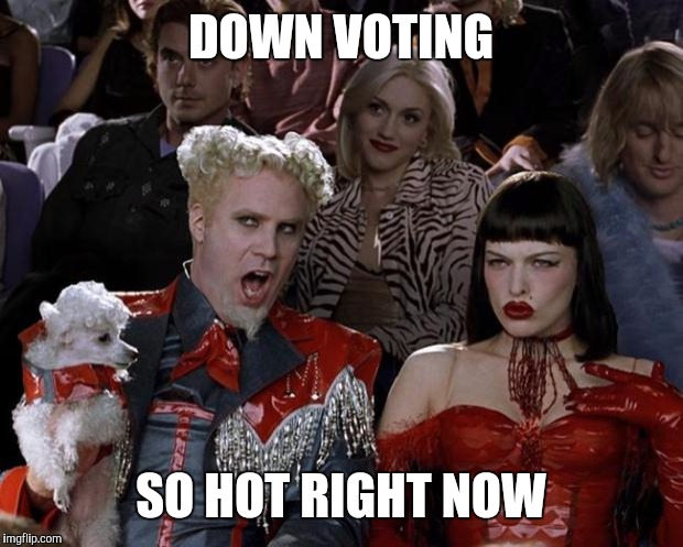 These down voting memes are getting annoying. | DOWN VOTING SO HOT RIGHT NOW | image tagged in memes,mugatu so hot right now | made w/ Imgflip meme maker