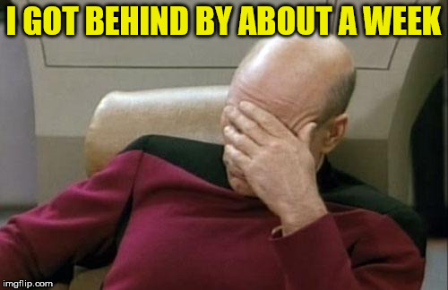 Captain Picard Facepalm Meme | I GOT BEHIND BY ABOUT A WEEK | image tagged in memes,captain picard facepalm | made w/ Imgflip meme maker