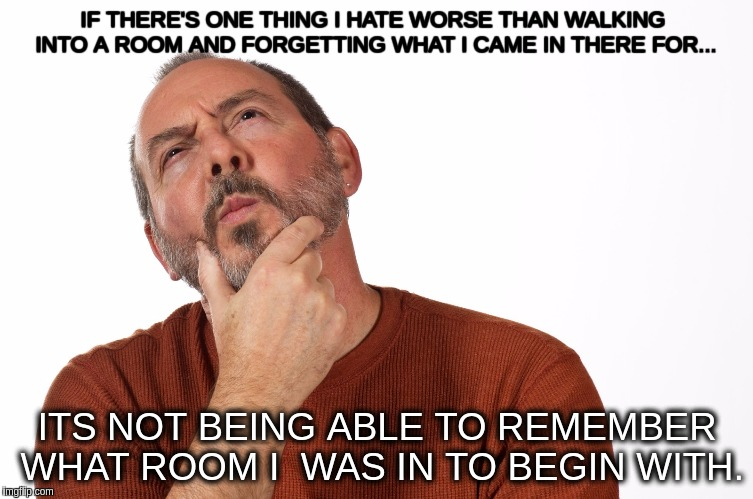 IF THERE'S ONE THING I HATE WORSE THAN WALKING INTO A ROOM AND FORGETTING WHAT I CAME IN THERE FOR... ITS NOT BEING ABLE TO REMEMBER WHAT RO | image tagged in thinking puzzled man | made w/ Imgflip meme maker