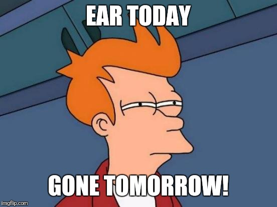 Can you hear me now? | EAR TODAY GONE TOMORROW! | image tagged in memes,futurama fry,van gogh,ear | made w/ Imgflip meme maker