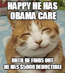 Happy cat | HAPPY HE HAS OBAMA CARE UNTIL HE FINDS OUT HE HAS $5000 DEDUCTIBLE | image tagged in happy cat | made w/ Imgflip meme maker