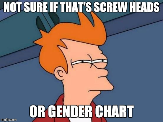 Futurama Fry Meme | NOT SURE IF THAT'S SCREW HEADS OR GENDER CHART | image tagged in memes,futurama fry | made w/ Imgflip meme maker