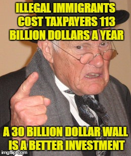 Do the Math Yourselves  | ILLEGAL IMMIGRANTS COST TAXPAYERS 113 BILLION DOLLARS A YEAR A 30 BILLION DOLLAR WALL IS A BETTER INVESTMENT | image tagged in memes,back in my day,trump wall,build a wall | made w/ Imgflip meme maker