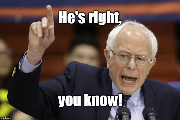 Bern, feel the burn? | He's right, you know! | image tagged in bern feel the burn? | made w/ Imgflip meme maker