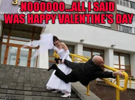 Happy Valentine's Day to all my fellow Flippers!!! And if you're single, just think about all the money you're saving!!! | NOOOOOO...ALL I SAID WAS HAPPY VALENTINE'S DAY | image tagged in happy valentine's day,memes,valentines,funny,marriage | made w/ Imgflip meme maker