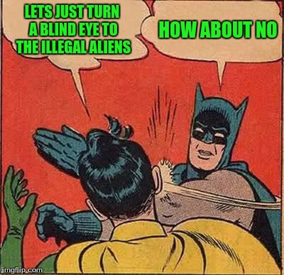 Batman Slapping Robin Meme | LETS JUST TURN A BLIND EYE TO THE ILLEGAL ALIENS HOW ABOUT NO | image tagged in memes,batman slapping robin | made w/ Imgflip meme maker