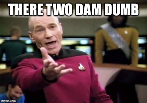 Picard Wtf Meme | THERE TWO DAM DUMB | image tagged in memes,picard wtf | made w/ Imgflip meme maker
