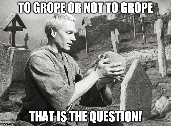 Hamlet | TO GROPE OR NOT TO GROPE THAT IS THE QUESTION! | image tagged in hamlet | made w/ Imgflip meme maker