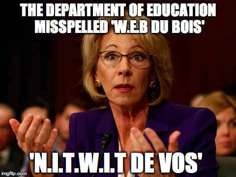 Betsy DeVos |  THE DEPARTMENT OF EDUCATION MISSPELLED 'W.E.B DU BOIS'; 'N.I.T.W.I.T DE VOS' | image tagged in betsy devos | made w/ Imgflip meme maker