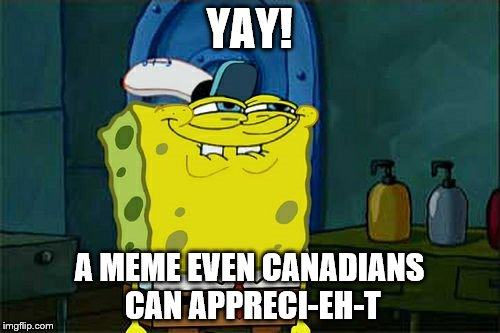 Dont You Squidward Meme | YAY! A MEME EVEN CANADIANS CAN APPRECI-EH-T | image tagged in memes,dont you squidward | made w/ Imgflip meme maker