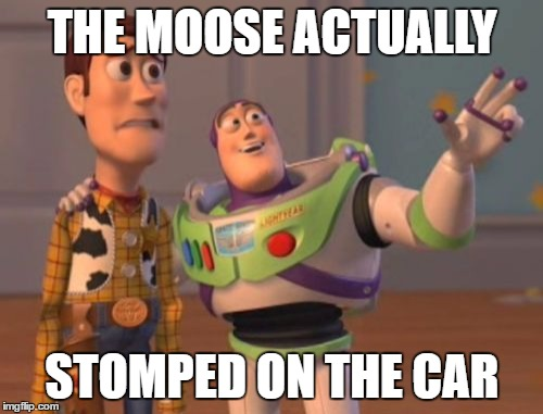 X, X Everywhere Meme | THE MOOSE ACTUALLY STOMPED ON THE CAR | image tagged in memes,x,x everywhere,x x everywhere | made w/ Imgflip meme maker