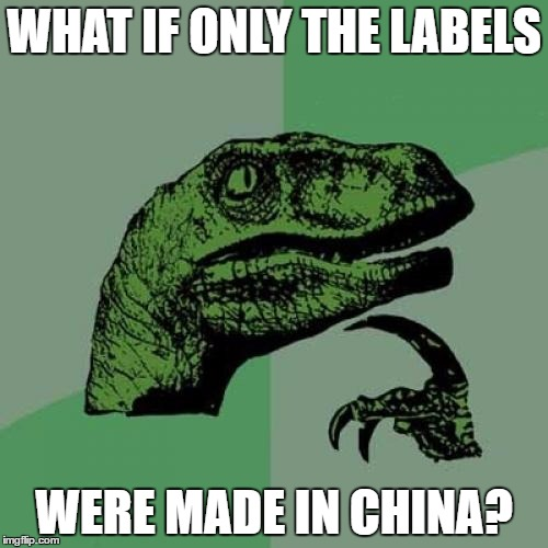 Philosoraptor Meme | WHAT IF ONLY THE LABELS WERE MADE IN CHINA? | image tagged in memes,philosoraptor,china,funny,labels | made w/ Imgflip meme maker