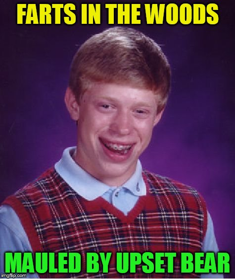 Bad Luck Brian Meme | FARTS IN THE WOODS MAULED BY UPSET BEAR | image tagged in memes,bad luck brian | made w/ Imgflip meme maker