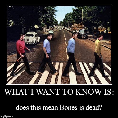 does Kirk see himself as Lennon, or is it the other way around? | WHAT I WANT TO KNOW IS: | does this mean Bones is dead? | image tagged in funny,demotivationals,memes,star trek,the beatles,abbey road | made w/ Imgflip demotivational maker