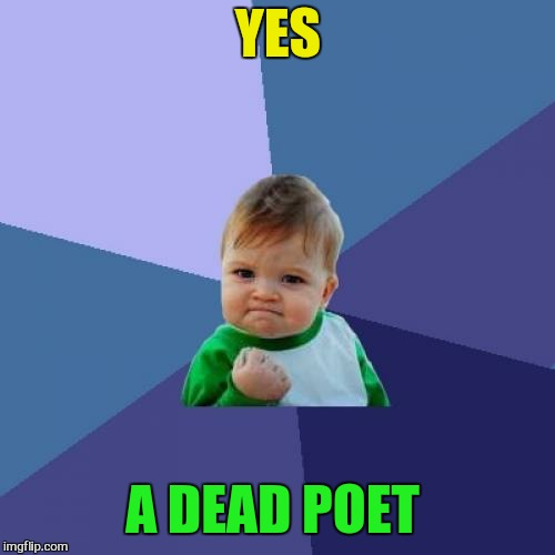 Success Kid Meme | YES A DEAD POET | image tagged in memes,success kid | made w/ Imgflip meme maker