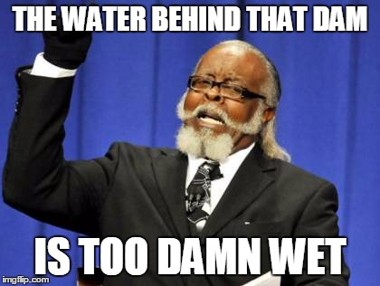 Too Damn High Meme | THE WATER BEHIND THAT DAM IS TOO DAMN WET | image tagged in memes,too damn high | made w/ Imgflip meme maker