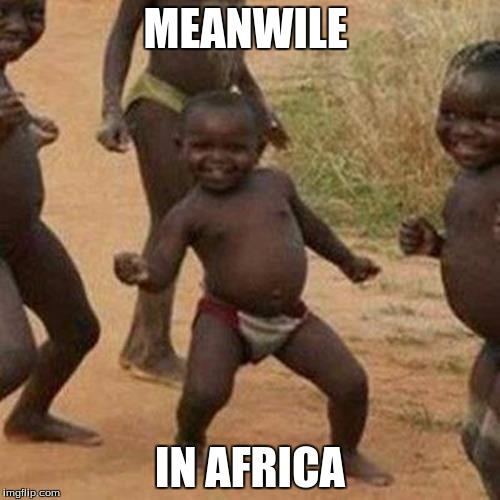 Third World Success Kid Meme | MEANWILE IN AFRICA | image tagged in memes,third world success kid | made w/ Imgflip meme maker