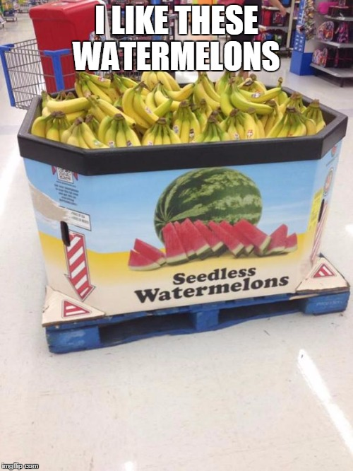 YOU HAD ONE JOB | I LIKE THESE WATERMELONS | image tagged in you had one job | made w/ Imgflip meme maker